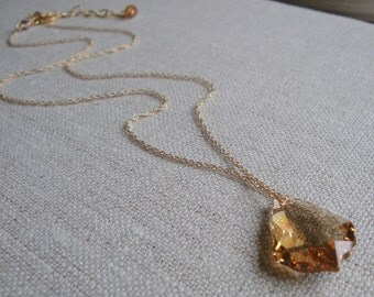 Bridal Party Necklace Swarovski Crystal Baroque Necklace Light Colorado Topaz Crystal Necklace in Gold Filled