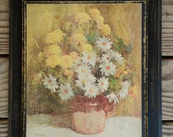 1968 Vintage Floral Print on Wood Plaque
