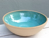 blue serving bowl; large pottery bowl; ceramic salad bowl; large clay bowl; pottery with sayings; grateful bowl