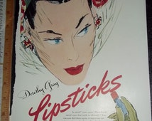 Illustrations Ladies Heads Dorothy Gray Lipstick Trifari Jewelry Lady Pink Rose 3 pages 6 views 1940's Magazine Advertisments tare sheets