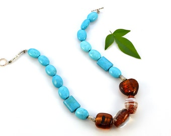 Turquoise Statement Necklace Murano Glass Beaded Blue Stone Tortoise Vintage - W2944