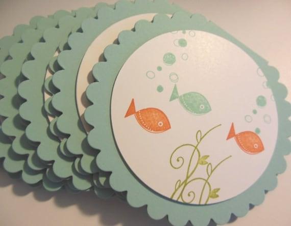 Fish Birthday Invitation, Fishbowl invitation, Baby Shower Invitation, Under the Sea, Fish Birthday Invitation - Set of 8