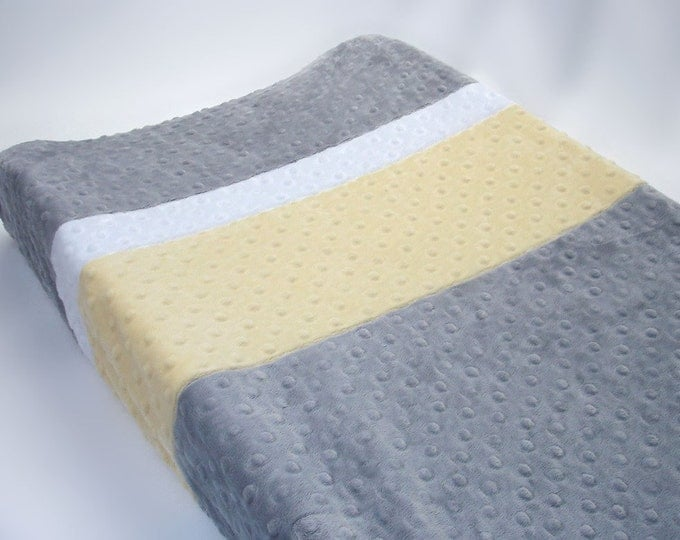 Silver Gray Changing Pad Cover with Stripes