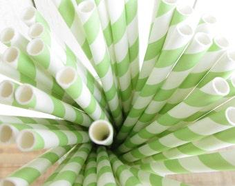 50 Green Apple Striped Paper Straws