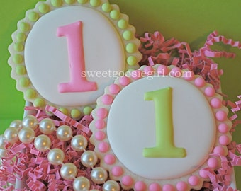 Preppy Pink and Green Personalized Age Decorated Sugar Cookies