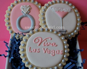 Las Vegas Themed Bridal Shower Decorated Sugar Cookies