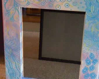 Zentangle-Inspired Painted Framed Mirror