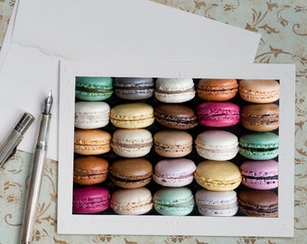 Paris Photo Notecard - Macarons, French Travel Note Card, Stationery, notecard