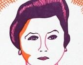 Imelda Marcos Linocut Letterpress Portrait