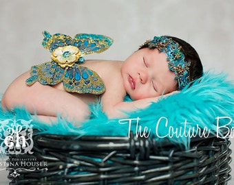 GOLDEN TURQUOISE Couture Newborn Butterfly Fairy Wings ONLY Photo Prop First Photos