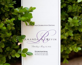 Classic Wedding Programs with Custom Printed Monogram and Elegant Personalized Wording- Tea Length