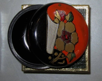 Vintage Pill Box in Red with Flowers n Scroll by Sarsaparilla ~ Style # 6 Black