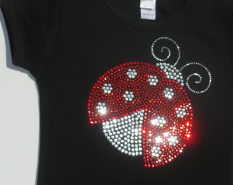 18 month red/clear Ladybug rhinestone short or long sleeved shirt for Lady Bug costume