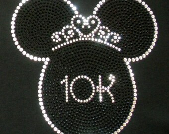 6.8 inch Princess Minnie Mouse 10K Princess Run iron on bling rhinestone transfer for shirt