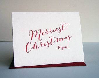SALE - Letterpress Holiday Cards - Christmas Card - Merriest Christmas