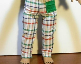 DC Plaid Pants with Green & White Polka Dot Pocket  - 18 Inch Doll Clothes fits American Girl