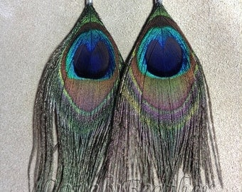 2 pieces natural Peacock eye feathers earrings