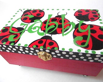 Hand Painted Ladybug Jewelry Box