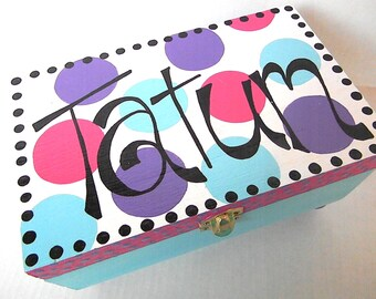 Hand Painted Jewelry Box-personalized wooden boxes-jewelry storage-treasure keeper-flower girl gifts