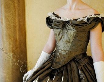 Custom Victorian Bridal Civil War Steampunk Ball Gown Dress in embroidered taffeta