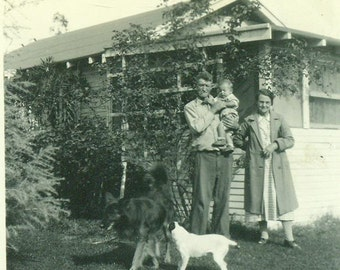 Dogs Playing In Front of Family Photo Grandparents Holding Baby 1940s Vintage Black and White Photo Photograph