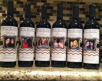 Custom Wedding Bridesmaid Photo Wine Labels - Chevron - Personalized Bridesmaid Gifts