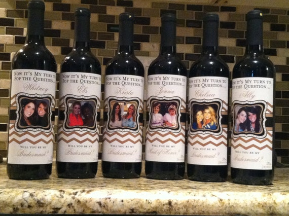 Personalized Wine Labels For Wedding Gift : Custom Wedding Bridesmaid Photo Wine LabelsChevronPersonalized ...