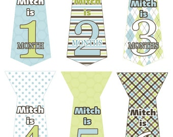 Personalized Monthly Baby Boy Tie Stickers Month Milestone Gift  Blue Green Brown Argyle Stripes Dots Uncut First Birthday