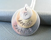 Two Toned Hand Stamped Necklace - Mommy Jewelry