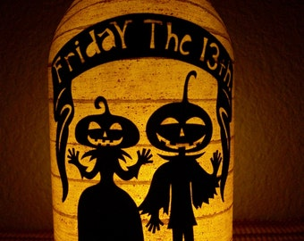 Primitive Halloween Pumpkin Couple Lantern