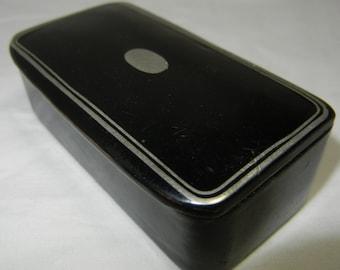 Antique Victorian Black Lacquer Snuff Box Paper Mache or Wood Silver Inlay