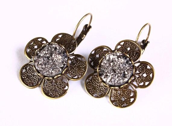 Flat rate shipping earrings - Antique brass flower black and silver faux dusy leverback dangle earrings - Faux druzy earrings (812)