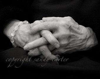Fine Art Photograph - Old Hands and Beads in Black and White