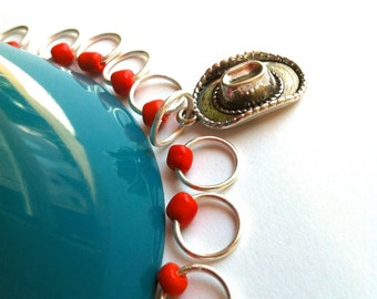 Snag Free ring stitch markers/knitting/O-rings - RODEO JANE Tangerine