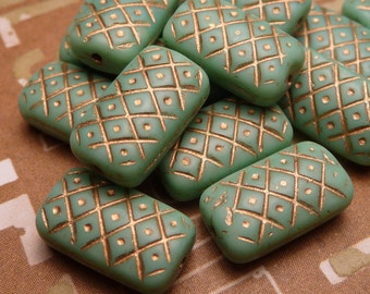 Matte Turquoise Glass Rectangle Beads 13mm - 4pc - SALE