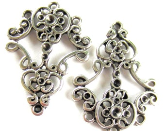 6 Ethnic earring chandeliers antique silver earring findings 25mm x35mm victorian jewelry finding