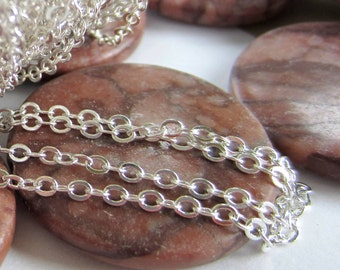 10ft  Bright silver chain 3mm x 2mm oval links lead free iron based soft sparkle S041-S-LF