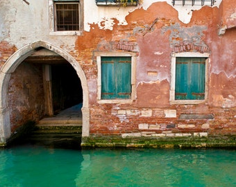 Venice Photography, Canal Photograph Italy Photo Red Rust Green Shabby Chic Arch House Wall Art Home Decor ven7