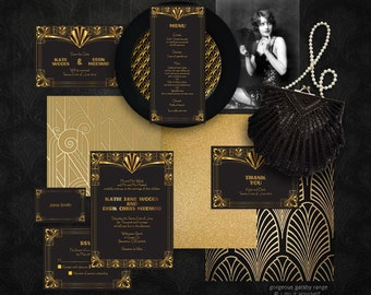 gorgeous gatsby wedding stationery set printable invitation suite 1920s art deco invitation invite, reception or ceremony package