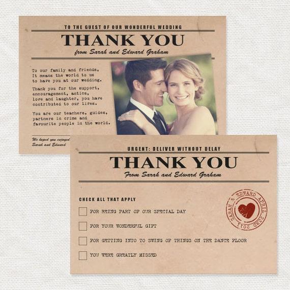 vintage telegram thank you card - printable file