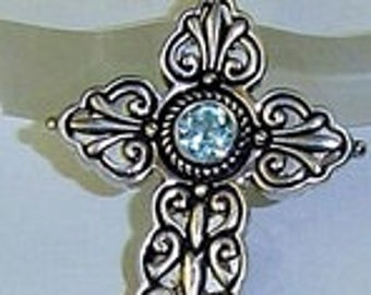 Large Thick Cross Pendant Blue Topaz Sterling Silver
