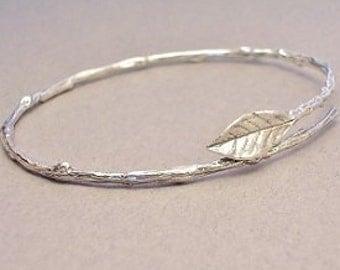 nature jewelry, rose leaf bangle bracelet, sterling silver twig bracelet