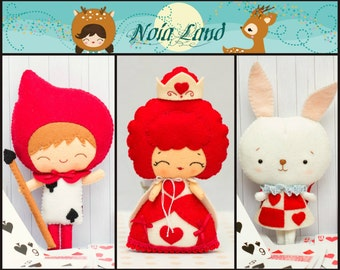 Wonderland Pattern: Queen of the hearts, Card soldier and White Rabbit. PDF Pattern