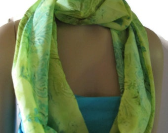 Infinity Scarf Green with Turquoise Silky Print Womens Fashion