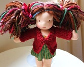 KNITTING PATTERN for Waldorf Doll Sweater with collar - for 10 -12 inch Dolls - Instant download - Permission to Sell Finished Product