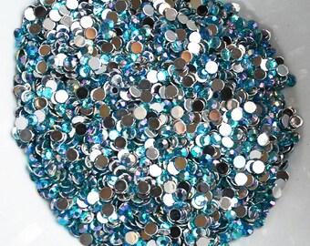1000 Round Faceted Flat Back Rhinestone SS16 4mm Aqua Blue AB  FREE Shipping US Iphone Case LR216