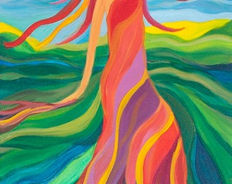 """Letting Go- An original 12x24"""" acrylic painting PRINT ON CANVAS. Many Sizes Available"""