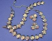 Stunning Vintage Glass Opal Necklace Set / Full Parure Necklace Set / Necklace Earrings Bracelet Set / Faux Opal Neckalce Set