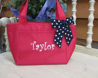 Monogrammed Red Insulated Lunch Bag Box Cooler Personalized Womens