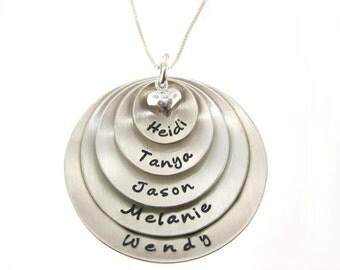 ULTIMATE SUPER MOM Necklace / Five Layered Domed Sterling Silver Hand Stamped Designer Font Necklace